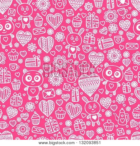 Valentine's day background. Seamless pattern with doodle love heart flower letter panda rabbit teapot cup cakes.