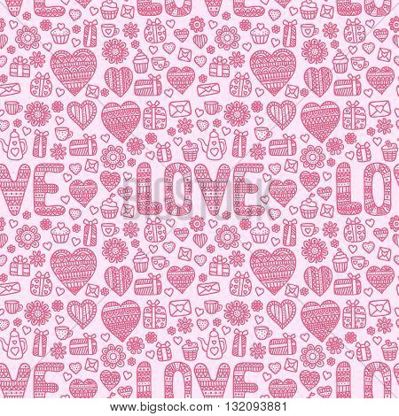 Valentine's day background. Seamless pattern with doodle love heart flower letter cups teapots muffins.