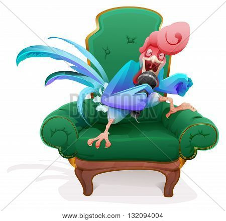 Blue Rooster symbol 2017. Rooster in chair singing into microphone song. Vector cartoon illustration