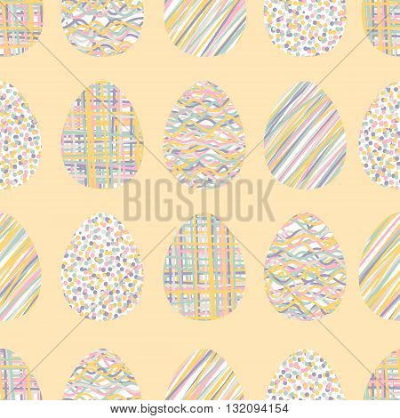 Easter eggs. Vector seamless pattern with easter eggs. Cute background for Easter. Pastel colors.