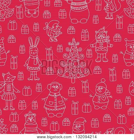 Christmas red pattern. Vector pattern with doodle animals and gifts. Cute winter background. Fox bear rabbit cat hedgehog squirrel and snowman.