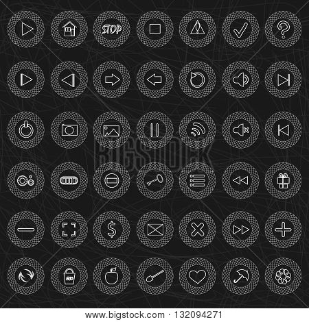 Set of vector button for game design. Mobile elements for game or music players on a gray background
