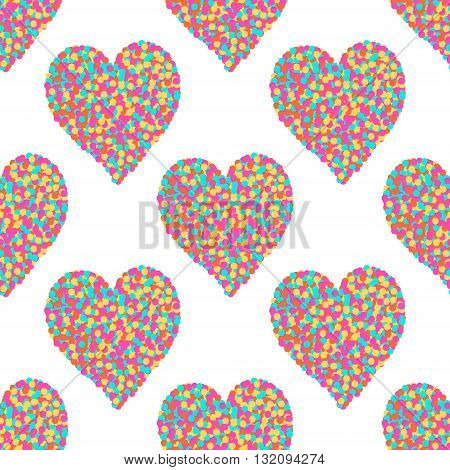 Heart of dots. Seamless vector pattern with hearts. Colorful background for St. Valentine's Day. Bright hearts on white background.