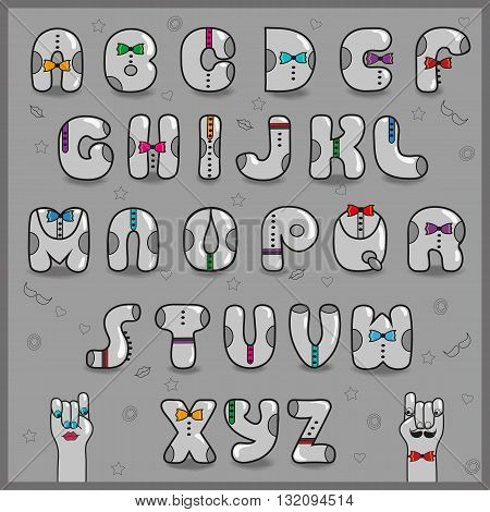 Hipster Alphabet. Vintage Artistic Font. Dressed letters. Retro shape. Cartoon gray symbols with colorful ties. Cartoon hands looking at each other. Illustration.