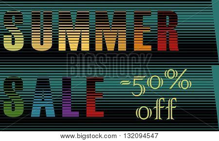 Summer Sale Inscription. Fifty percents off. Striped unusual font. Colorful Letters. Illustration.