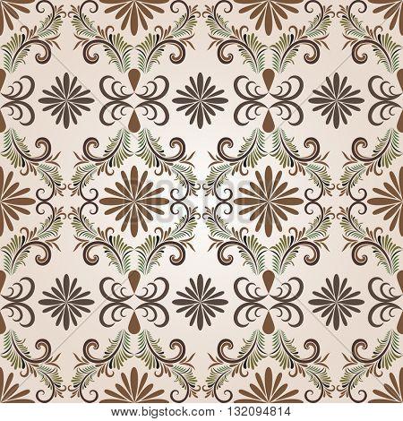 Seamless brown floral pattern. Raster illustration.