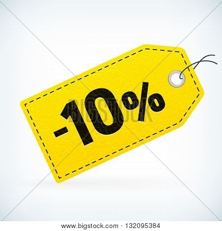 Yellow leather business sale -10% vector label. Business sale off detailed label. Isolated from background. Editable sale tag.