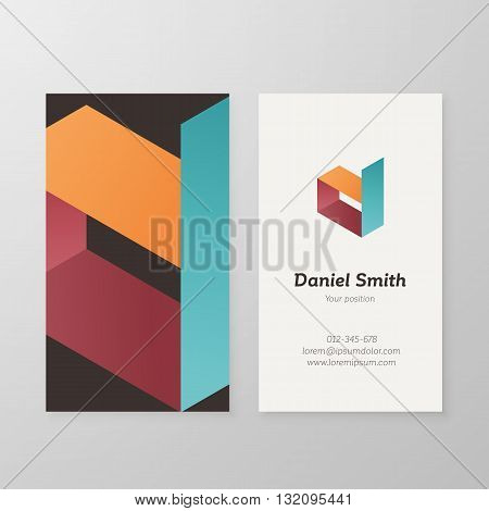 Business card isometric logo letter D vector template. Vector business card logo design letter D. Business card personal logo letter D design. Business card letter D design.