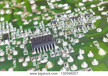Electronic integrated circuitry macro detail. Technology background. Horizontal