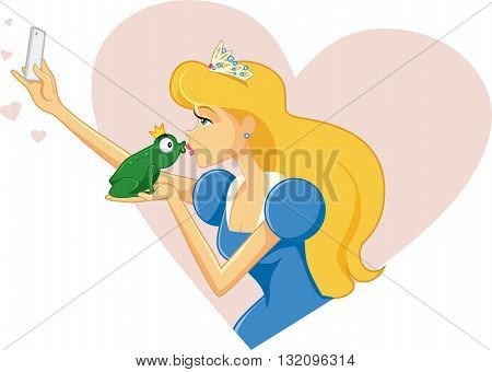 Drawing of beautiful princess and her prince frog taking a selfie