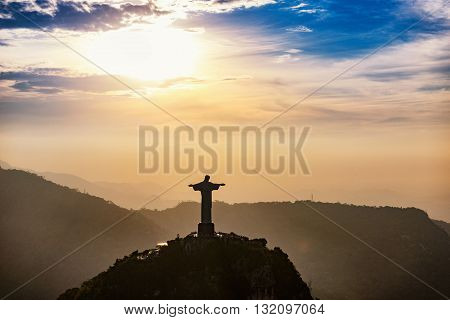 Christ The Redeemer Statue In Rio De Janeiro. Aerial View, Sunset Time