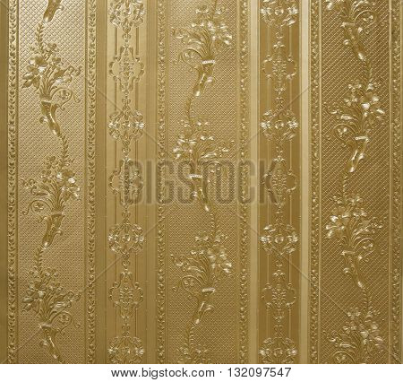 RAISED GOLD PAPER, FLORAL LUXURY PATTERN , VINTAGE STYLE, BACKGROUND
