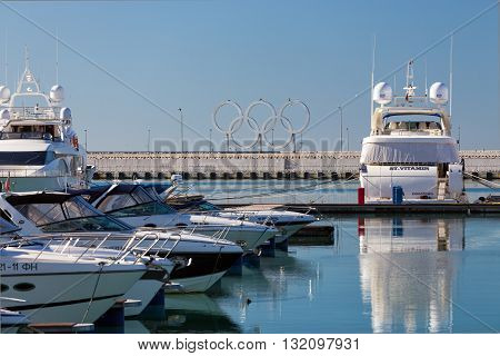 Sochi, Russia - February 9, 2016: Luxury Yachts And Boats In Port Sochi At The Black Sea.
