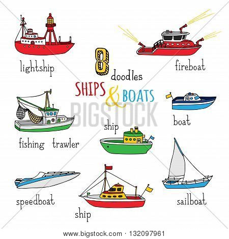 Vector Set Of Doodles Ships And Boats.