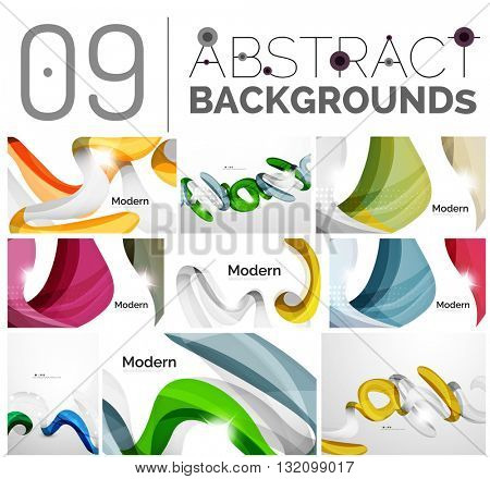 Motion concept abstract background set. Infinity space templates with sample text. Business card and identity design elements