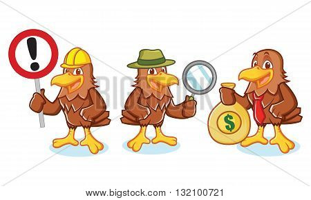 Hawk Mascot Vector with sign detective and businessman