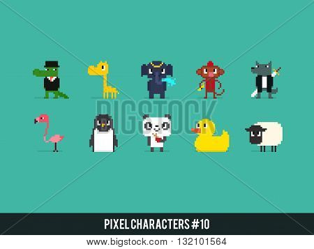 Set of different pixel art animals collection