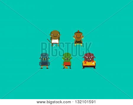Set of different pixel art characters orcs and trolls fantasy warriors