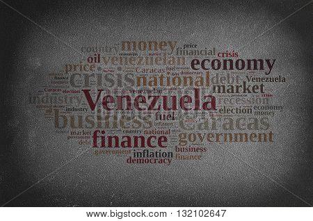A blackboard with word cloud on Venezuela.