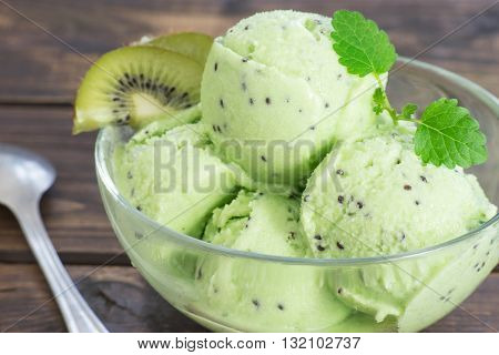 Close up of a homemade refreshing kiwi sorbet