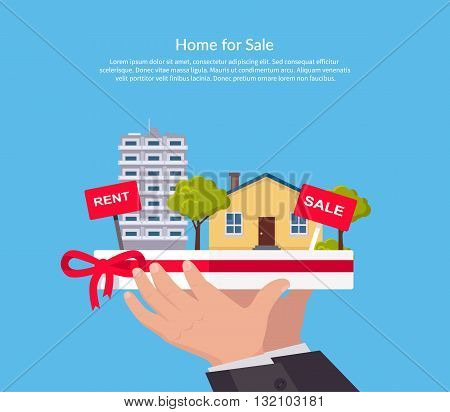 House for sale. Broker keeps the house on the palm. Sold home with for sale sign in front of beautiful new house. Vector illustration