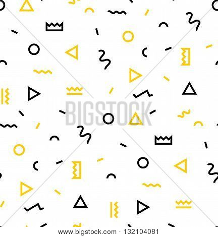 Seamless patterns in yellow colors with geometric elements. Patern hipster style. Patern suitable for posters postcards fabric or wrapping paper