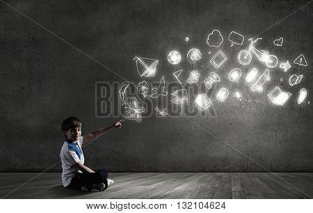 School boy in empty room