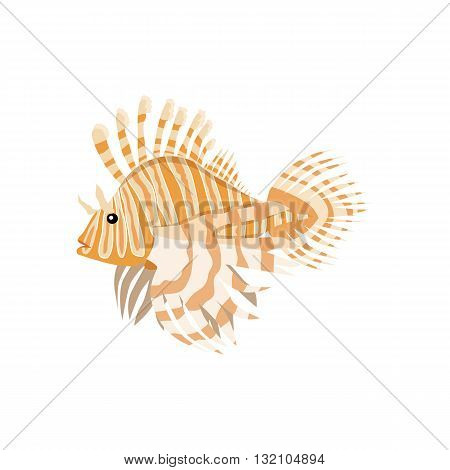 Tropical fish lionfish pterois volitans dangerous coral reef fish. Lionfish venomous dorsal spines. Vector illustration