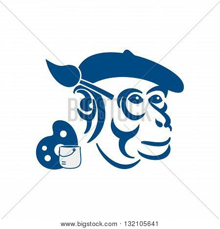 Concepts monkey painted blue brush wearing a hat vector illustration isolated on white background.