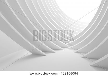 3d Illustration of White Column Interior. Abstract Architecture Background. Modern Building Construction
