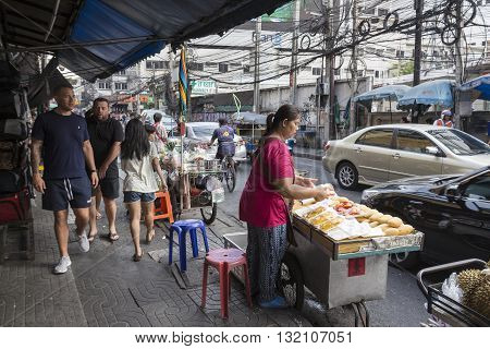 BANGKOK THAILAND - APR 29 : street stall at south Nana soi in Nana district on april 29 2016 thailand. Nana area is one of tourist hub in Bangkok
