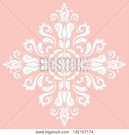 Elegant vector ornament in the style of barogue. Abstract traditional pattern with oriental elements. ink and white pattern