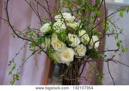 decorative bouquet of white roses for wedding.
