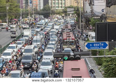 BANGKOK THAILAND - APR 29 : scene of traffic jam on Ratchadapisek road at Asoke junction on april 29 2016 thailand. traffic jam is one of worse issue of Bangkok