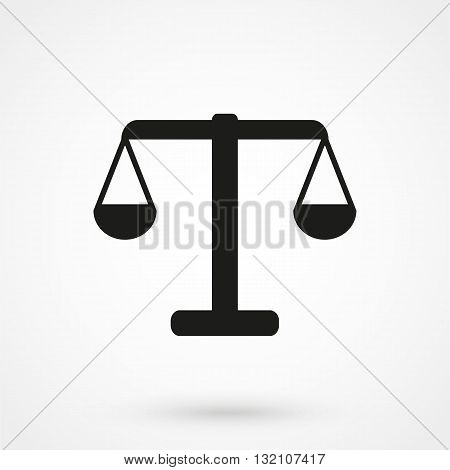 Vector Icon Of Justice Scales Black On White Background
