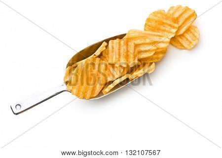 Crinkle cut potato chips isolated on white background. Tasty spicy potato chips in scoop.