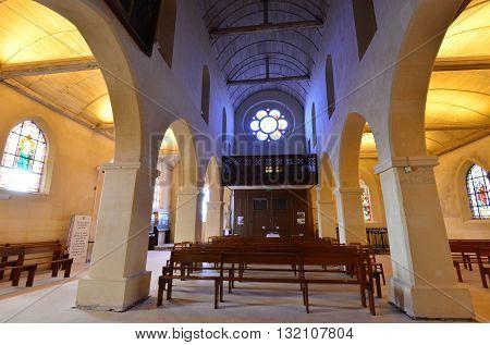 Conflans Sainte Honorine France - april 4 2016 : the Saint Maclou church