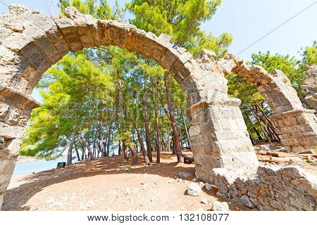 Phaselis Sea  Bush Gate  In  Myra   Greece And   Temple