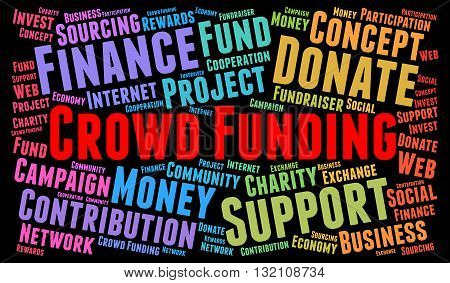 Crowd Funding word cloud concept with a black background