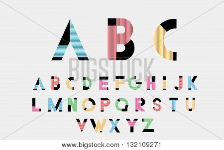 Black alphabetic font and numbers with color lines. Vector illustration.