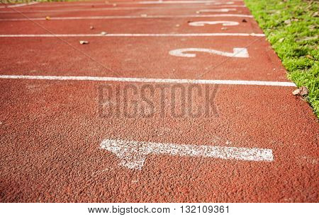 running track with multiple lane numbers concept