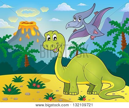 Dinosaur topic image 2 - eps10 vector illustration.