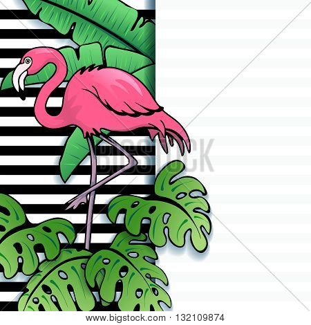 Brightly colored line art tropical banner with stripes and a flamingo. Graphics are grouped and in several layers for easy editing. The file can be scaled to any size.