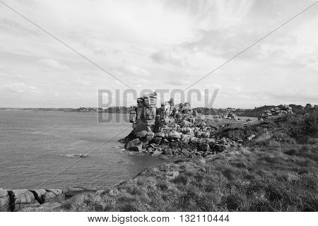 the rocks on the path of the customs officers, Perros Guirec, France