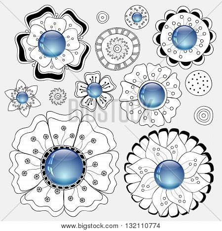 set of doodle flowers. stock vector illustration. decorative element
