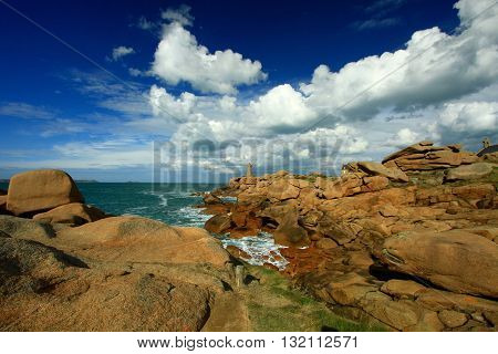 The Breton lighthouse of the path of the customs officers, Perros Guirec, France
