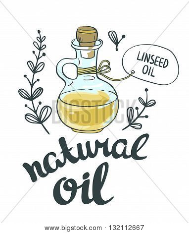 Bottle with linseed oil. Vector isolated objects