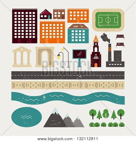 Elements of urban architecture and some natural objects. It can be used to create customized vector illustrations, maps, guidebook. The small town with a texture in vintage style.