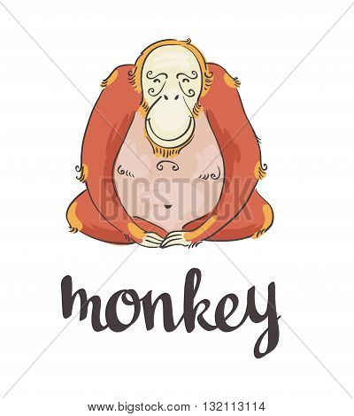 Red fire monkey. Hand-drawn vector illustration of animal.