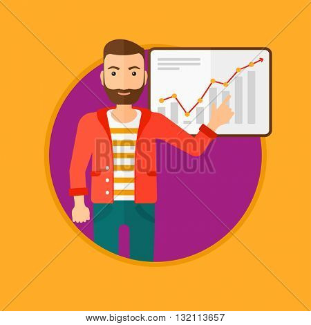 A hipster businessman pointing at charts on a board during business presentation. Man giving a business presentation. Business presentation in progress. Vector flat design illustration in the circle.